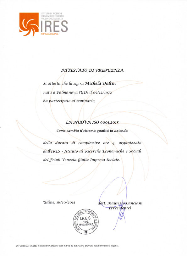 attestato frequenza ires iso9001 2015